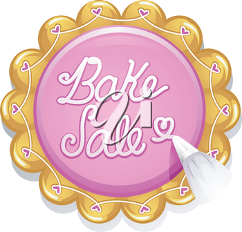 Illustration of a Baker Writing the Words Bake Sale with Cake Frosting