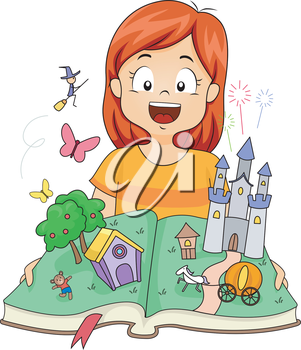 Illustration of a Little Girl Opening a Pop Up Book with Castles and Witches Inside