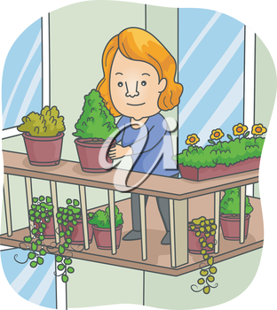 Illustration of a Woman Organizing the Pots on Her Balcony