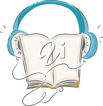 Illustration of a Book Wearing Blue Headphones
