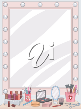 Illustration of a Vanity Mirror with an Assortment of Cosmetics Lying in Front of It