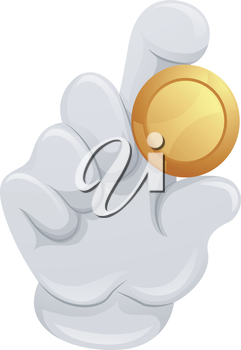 Illustration of a Mascot Holding a Piece of Golden Coin