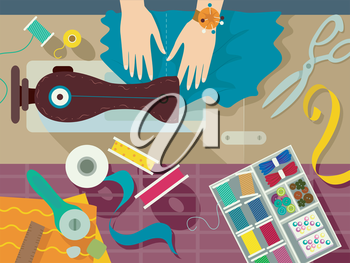 Flat Illustration of a Sewer Surrounded by Sewing Materials