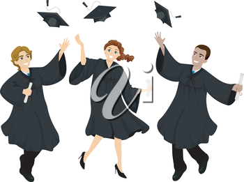 Illustration of College Graduate Students Wearing Graduation Cap and Gown