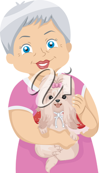 Illustration of an Elderly Woman Carrying a Little Dog