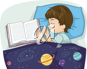 Illustration of a Tired Kid Boy Sleeping Beside a Book