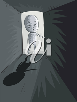 Illustration of a Man Entering a Dark and Mysterious Room