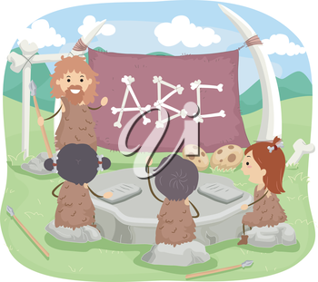 Stickman Illustration of a Caveman Teaching the Alphabet to Little Kids
