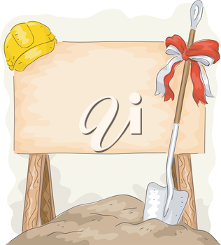Illustration of a Shovel Placed Beside a Construction Sign