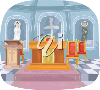 Illustration Featuring the Interior of a Church