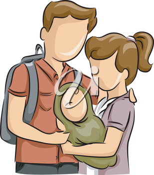 Illustration of a Teenage Couple Cradling Their Baby