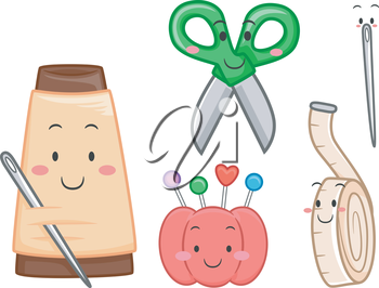 Mascot Illustration Featuring Sewing Materials