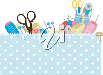 Colorful Illustration of a Header Featuring Different Sewing Materials