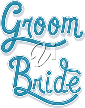 Typography Illustration Featuring the Words Groom and Bride Written in Blue