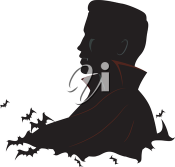 Black and White Illustration Featuring a Vampire Surrounded by Bats
