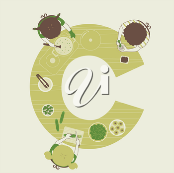 Illustration of Kids Students Cooking in Class with Letter C Table