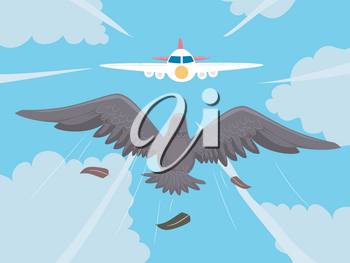 Illustration of a Flying Bird Towards a Coming Airplane. Bird Strike