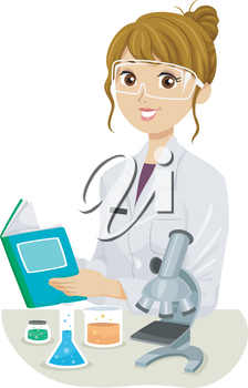 Illustration of a Teenage Girl Wearing White Lab Gown and Reading a Book