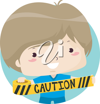 Illustration of a Kid Boy Holding and Setting Up a Border Using a Caution Yellow Tape