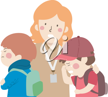 Illustration of Kids Boys with One Crying and a Teacher Mediating and Resolving Conflict