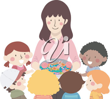 Illustration of Kids Receiving Chocolate Candies and Treats from their Teacher