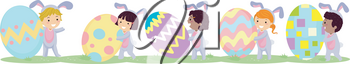 Border Illustration of Stickman Kids Walking in Bunny Costumes and Rolling Easter Eggs