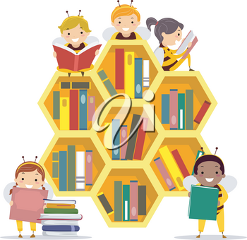Illustration of Stickman Kids Wearing Bee Costume, Holding and Reading Books in a Bee Hive Shaped Library