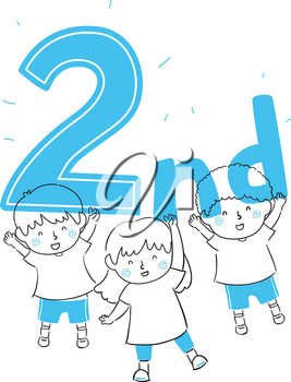 Illustration of Kids Winner and Holding a Second Trophy Lettering