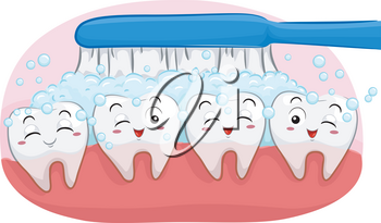 Illustration of Happy Teeth Mascots with Toothbrush Cleaning It