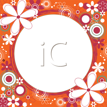 Royalty Free Clipart Image of a Flower Frame With a Circle in the Centre
