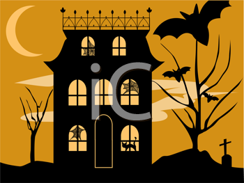 Royalty Free Clipart Image of a Halloween House