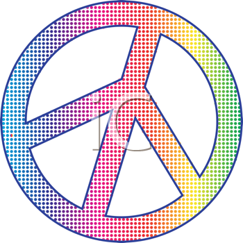Royalty Free Clipart Image of a Dotted Peace Symbol