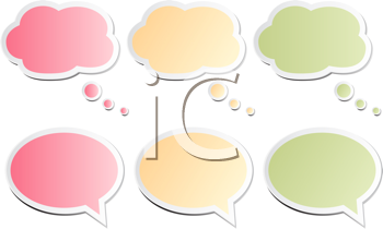 Royalty Free Clipart Image of Various Coloured Speech Bubbles