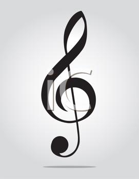 Royalty Free Clipart Image of a Silhouette of a Floating Treble Clef With a Shadow