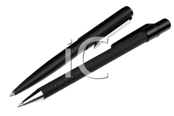 Black ball pen and the black mechanical pencil, isolated, hyper DoF