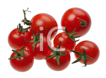 red tomatoes, isolated on a white background