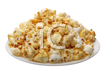 Popcorn on a white plate, isolated on a white background
