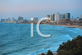 Royalty Free Photo of a Sea Coast and a City