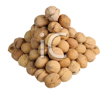 Pyramid of walnuts on white background, isolated