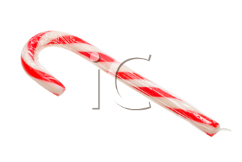 striped christmas candy on a white background, isolated