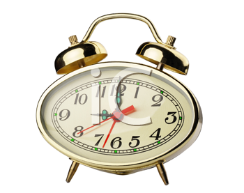 Mechanical alarm clock with a decorative bell, isolated on a white background.