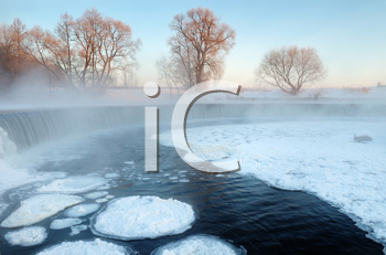 Royalty Free Photo of a Frosty Winter Day on a River