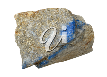 A splinter of lapis lazuli, isolated on a white background