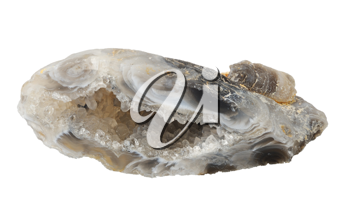 Vug of chalcedony, isolated on a white background