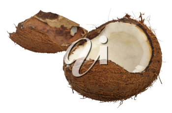 Split coconut, isolated on a white background.