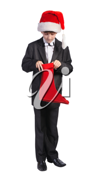 Boy with red hat and red sock, isolated on a white background.