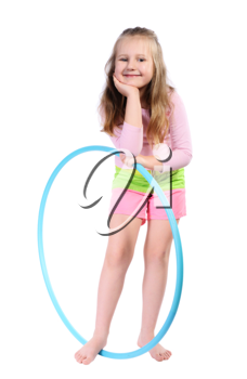 Girl with long blond hair, with  hula hoop, isolated on a white background.