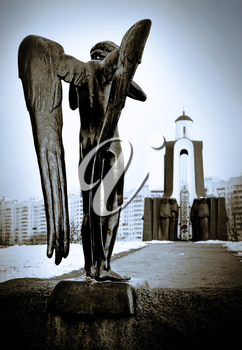 Chapel and a statue of an mourner angel in Minsk, Belarus