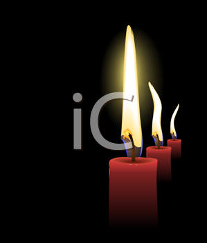 Royalty Free Clipart Image of Candles Burning