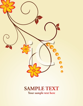 Royalty Free Clipart Image of an Autumn Floral Design